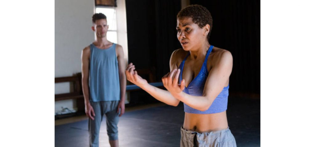 Darion Adams and Crystal Finck in MODORENAI which runs at Theatre Arts from 14 to 18 October. Photo credit: Jesse Kramer.