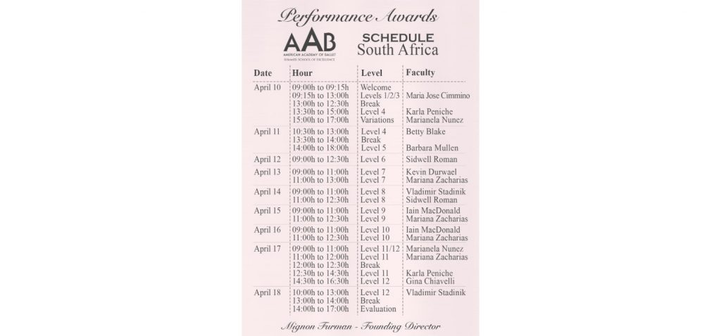 Schedule of online seminar classes