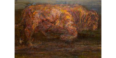 Pauline Gutter, Pylvak (2018), Oil on flax linen, 100 x 150 cm