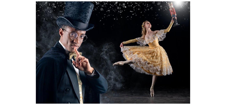 Gabriel Fernandes and Alice le Roux - THE NUTCRACKER - Joburg Ballet - 2021. Photo: Lauge Sorensen.