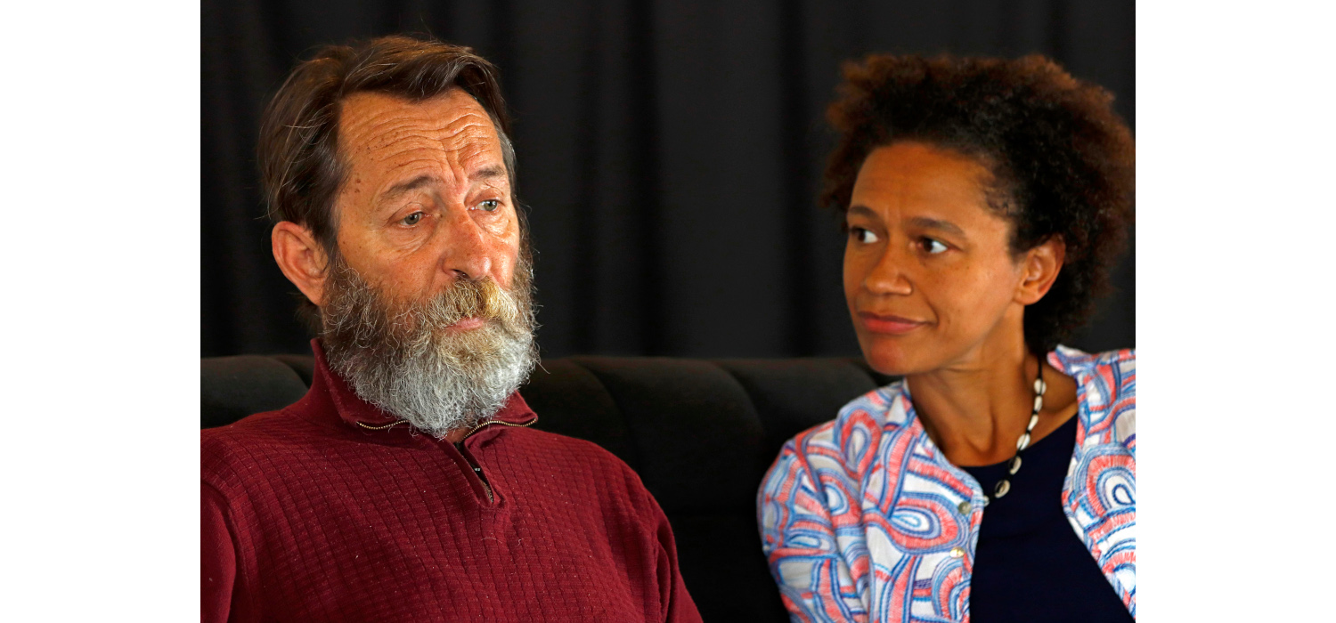 Lionel Newton and Mojisola Adebayo in Hold Still. Photo by Mark Wessels.