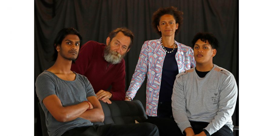 Tailyn Ramsamy, Lionel Newton, Mojisola Adebayo and Braeden Buys in Hold Still. Photo by Mark Wessels.