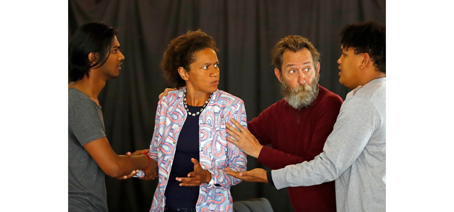 Tailyn Ramsamy, Mojisola Adebayo, Lionel Newton and Braeden Buys in Hold Still. Photo by Mark Wessels.